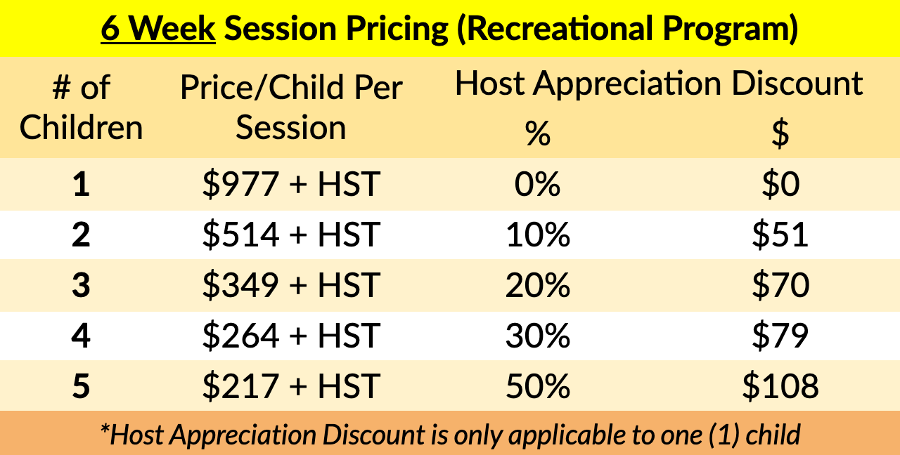 After School/Weekend Recreational Program Pricing