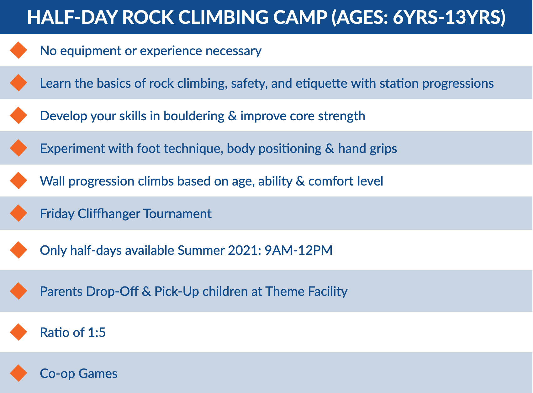 Rock Climbing Summer Camps for kids in Toronto